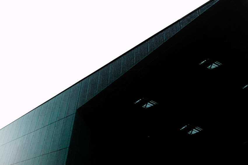 Architecture Art Blue Building Building Exterior Built Structure Clean Cyan Dark Day Low Angle View Modern Museum Outdoors