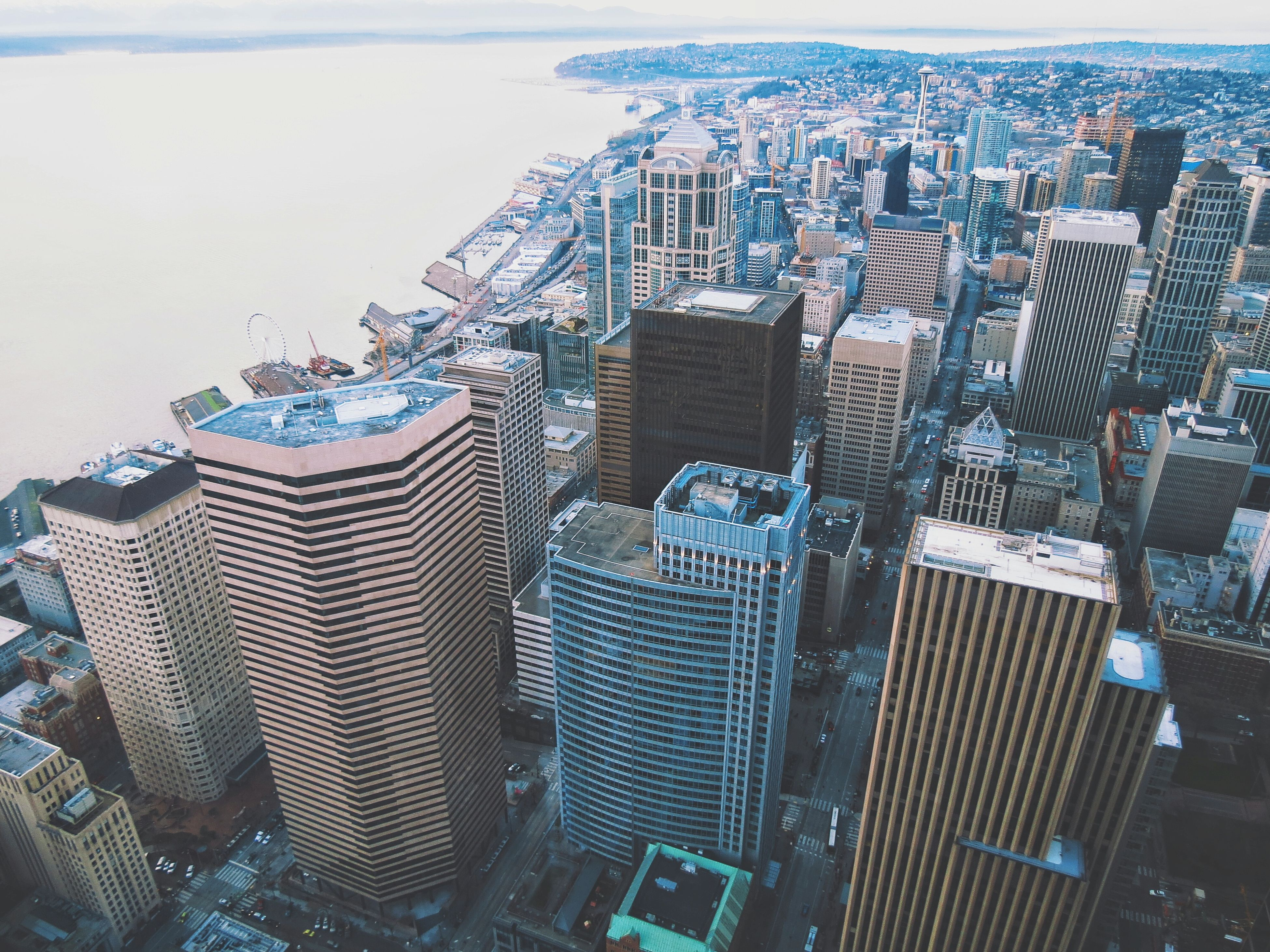 building exterior, architecture, built structure, city, cityscape, high angle view, skyscraper, crowded, tower, tall - high, aerial view, office building, modern, water, residential district, residential building, capital cities, sea, development, city life
