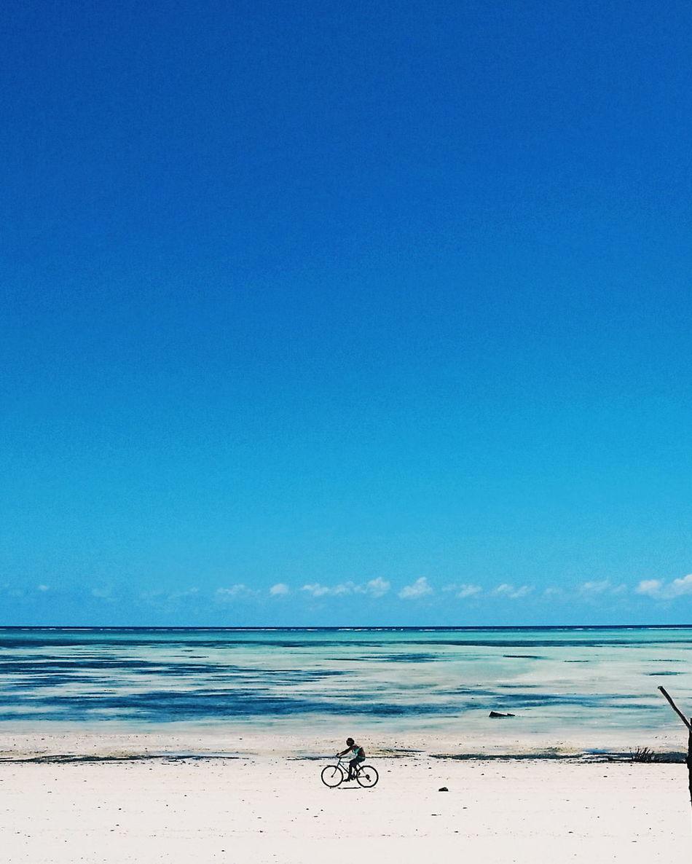 Blue Sea Beach Water Clear Sky Sand Nature Outdoors Beauty In Nature Zanzibar Hotel Paje Kitesurf Zanzibar_Tanzania Zanzibar Zanzibarisland Bicycle