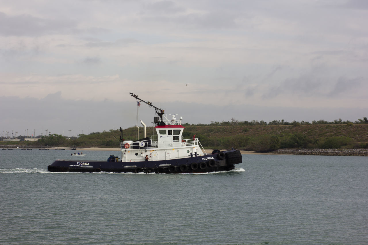 Tug boat Canaveral Florida Harbor Inlet Inlet Waters Nautical Vessel Outdoors Sea Tug Boat Tugboat Water