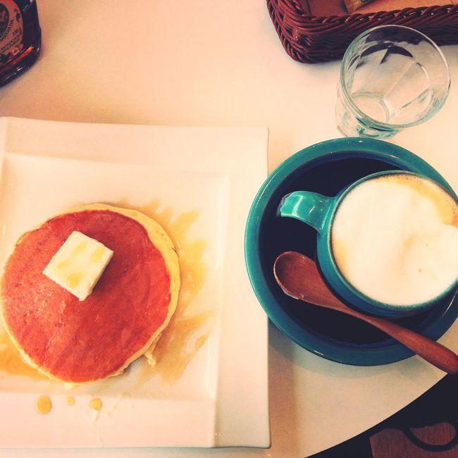 pancake and cappuccino ☕️ Cocogarden Tottori Japan Pancake and Cappucino Enjoying A Meal