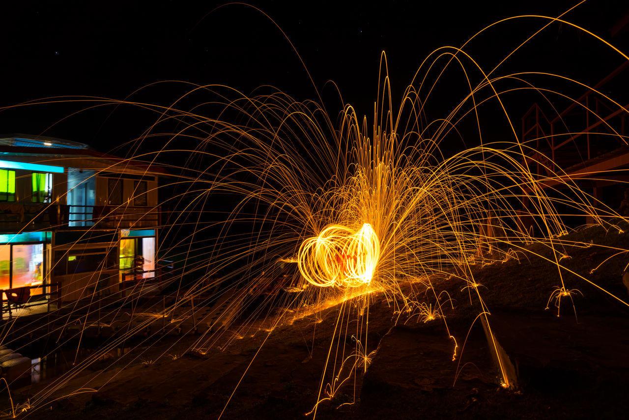 steel wool photography Blob Boathouse Firework Long Exposure Motion Night Photography Rarecation Round Sparkle Sparks Steel Wool Photography