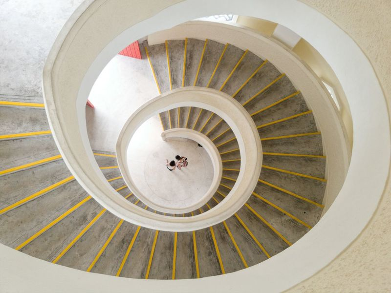 Steps Spiral Steps And Staircases Spiral Staircase Staircase High Angle View Architecture Built Structure Railing Indoors  Circle Spiral Stairs Building Exterior Coil Curve Geometric Shape No People