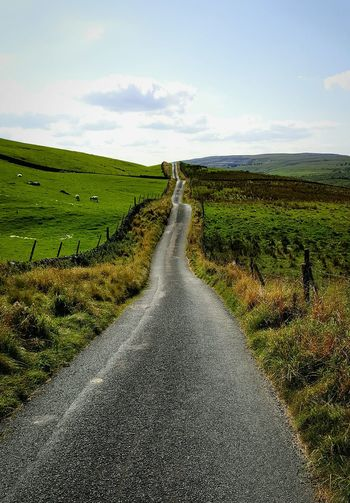 Road to nowhere The Way Forward Grass Landscape Tranquil Scene Transportation Tranquility Sky Field Road Diminishing Perspective Long Nature Green Color Grassy Solitude Day Non-urban Scene Beauty In Nature Remote Outdoors North Yorkshire