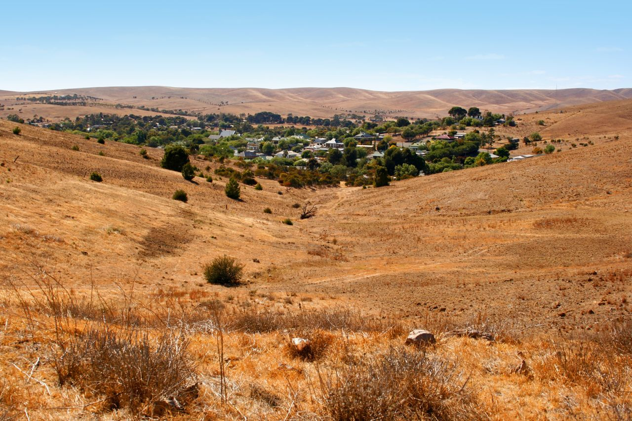 Burra Township during a hot summer, South Australia Arid Climate Australian Landscape Beauty In Nature Burra, Australia Clear Sky Day Desert Hills And Valleys Hot Isolated Landscape Nature No People Outdoors Rural Scene Scenics Sky Summer Tranquil Scene Tranquility Tree