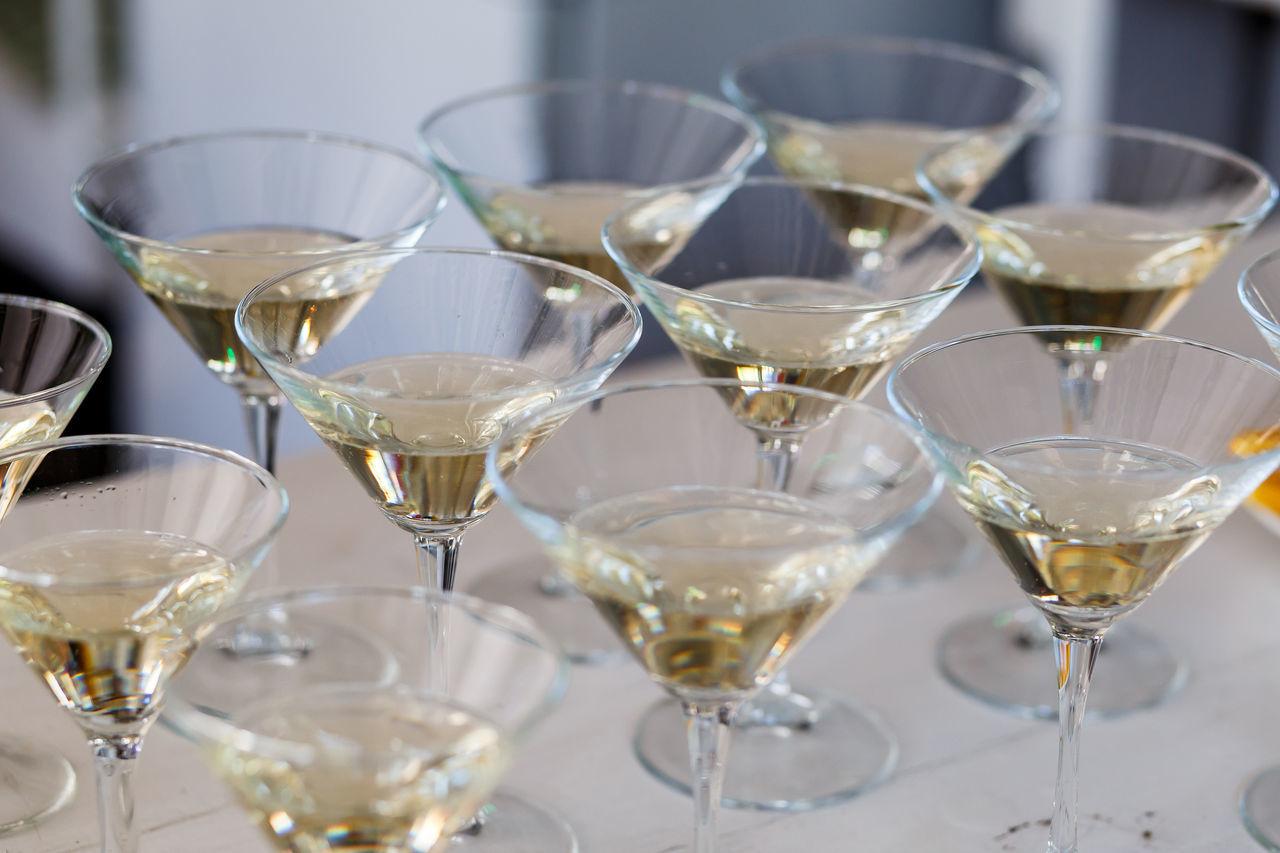 glasses full of martini. cocktails Bar Bartender Bottle Close-up Dinner Drink Drinking Hand Party Pouring Serving Size Shampaign Shampain Waiter
