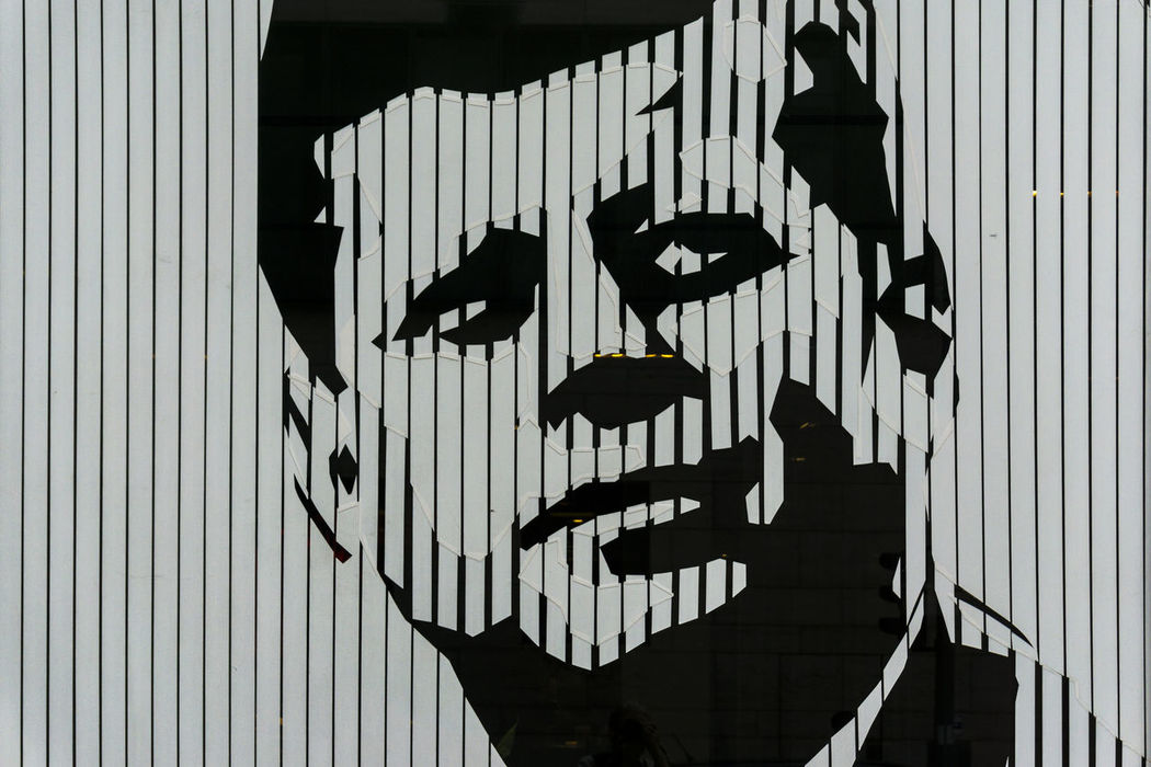 Image of John F. Kennedy on window blind of restaurant Architecture Art And Craft Berlin Black And White Building Exterior Built Structure Close-up Color Image Corrugated Iron Day Face Germany 🇩🇪 Deutschland John F. Kennedy  No People Outdoors Restaurant Shadow Window Blinds
