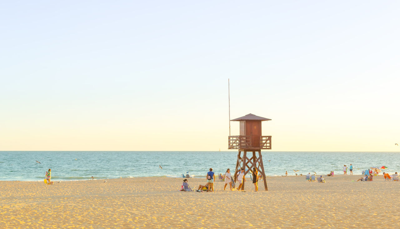 Summer in Spain. Day of beach. Rota, Cadiz. Beach Cadiz City Family Mediterranean  Men Ocean Ocean View Paradise People Promenade Relaxation Resort Rota Sand Sea SPAIN Summer Sunset Tourism Travel Destinations Vacations Walk Water Woman