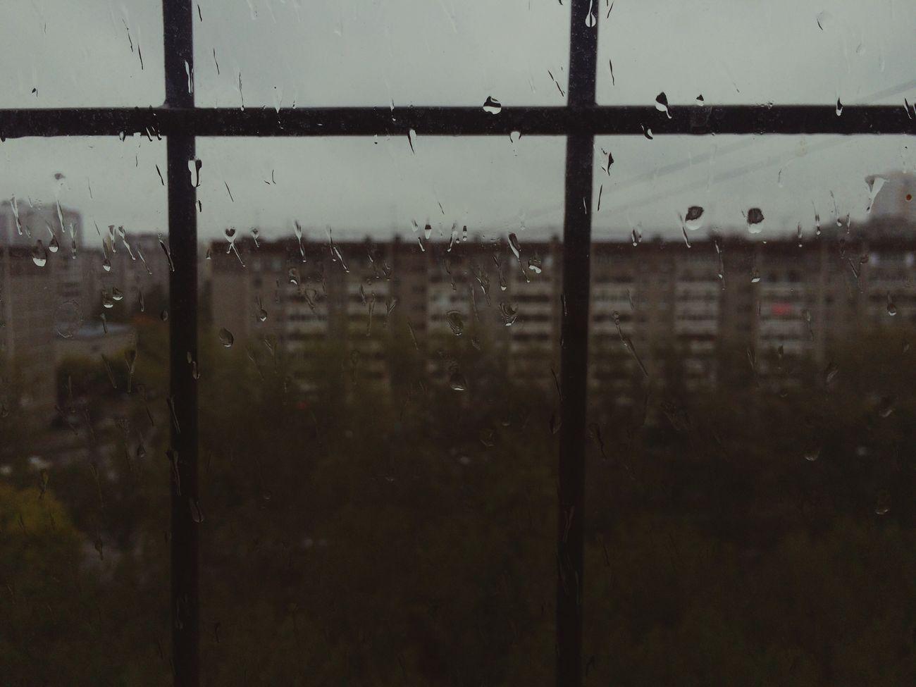 Rain Window Focus On Foreground Water Drop Weather Rainy Season Wet RainDrop No People