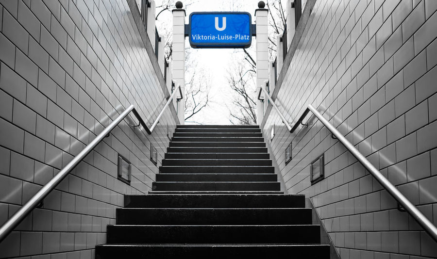 key Color ... Berlin Berliner Ansichten Best Of Stairways Blau Blue Information Sign Keycolor Low Angle View One Color Railing Sign Staircase Stairs Stairway Steps Steps And Staircases Subway Treppe U-Bahnhof Ubahn Berlin Urban Viktoria-luise-platz Krull&Krull Images Colorkey