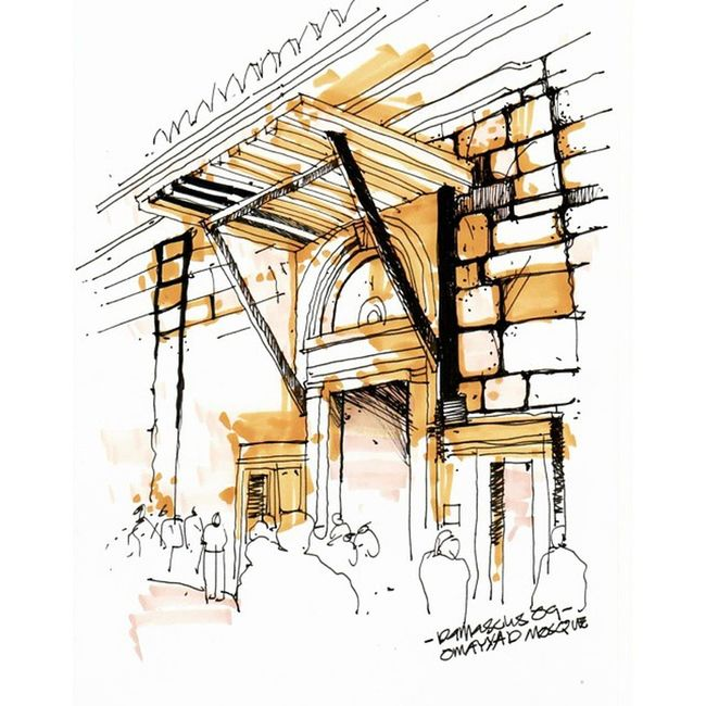 One of my sketch of damascus, syria during studio trip 6years ago..the sketch shows one of the doors entering omayyad mosque... Sketch Syria  Damascus  Oldcity Omayyadmosque Landscapestudiotrip