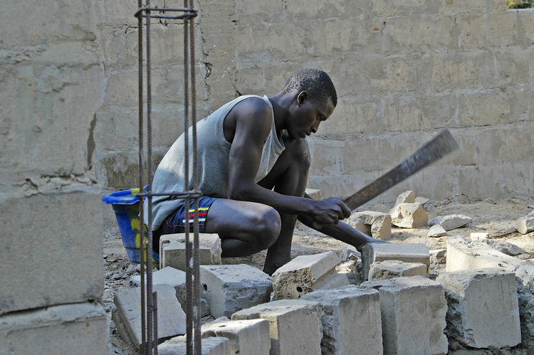 Building Chez Mikky in Niafrang Senegal Niafarang Niafourang Niafrang West Africa Africa Bricks Built Structure Casamance Day One Man Only One Person Outdoors Senegal Skill  Working