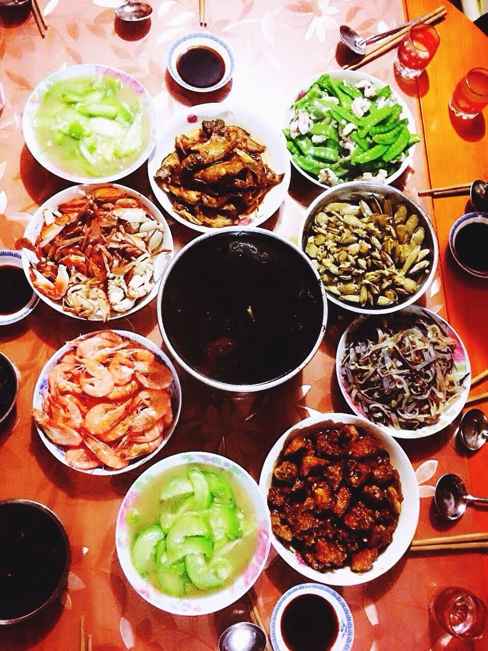 ready-to-eat, food, food and drink, variation, bowl, serving size, table, meat, vegetable, high angle view, indoors, freshness, choice, healthy eating, plate, meal, indulgence, no people, chopsticks, close-up, day