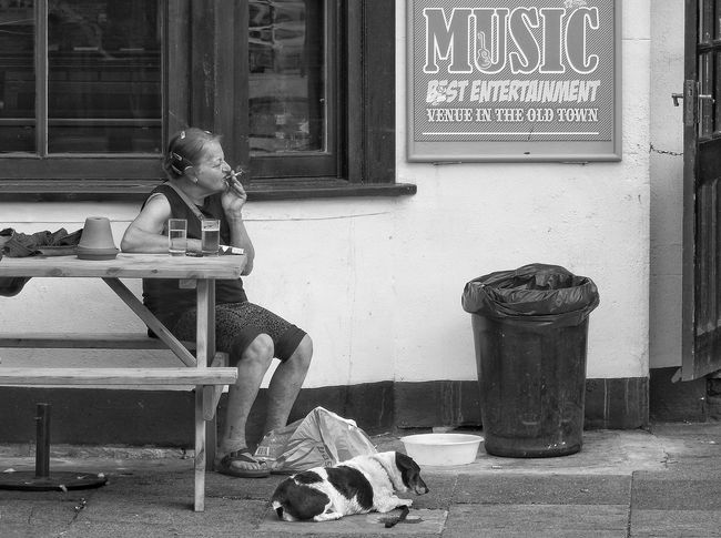 Smoking Hair Clips Flower Pot Character People Watching Signage Elderly Pub Outside Bench Summer Black And White Monochrome Dog Seated Dustbin One Woman Only Music People One Person Chilling Out Breathing Space Chair Day Window