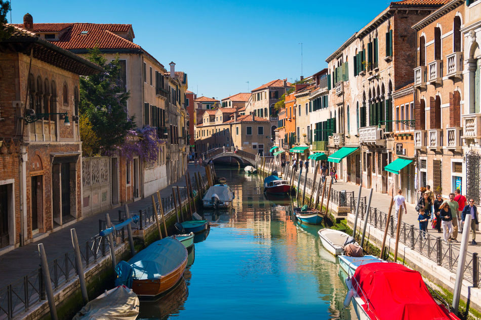 Architecture Blue Building Exterior Built Structure Canal Clear Sky Day Gondola - Traditional Boat Italy Nature Nautical Vessel Outdoors Real People Sky Travel Destinations Venice, Italy Water Waterfront
