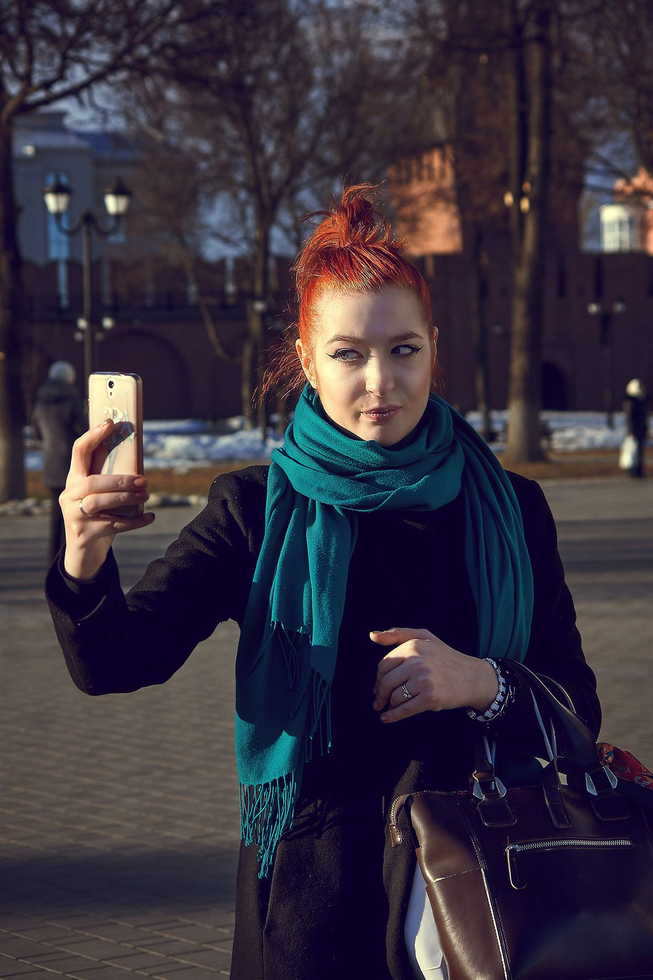 Russia Wireless Technology Portable Information Device Smart Phone Technology Communication Child Portrait Outdoors Focus On Foreground Selfie Photography Themes Building Exterior Tree Photo Messaging People Children Only Lifestyles Warm Clothing One Person Winter Mobile Conversations