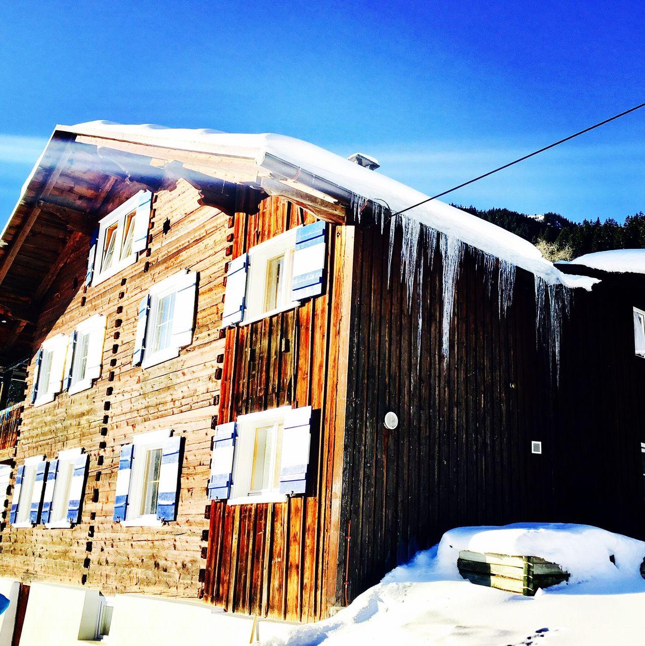 Chalet Winter Snow Clear Sky Outdoors Chalet Hütte