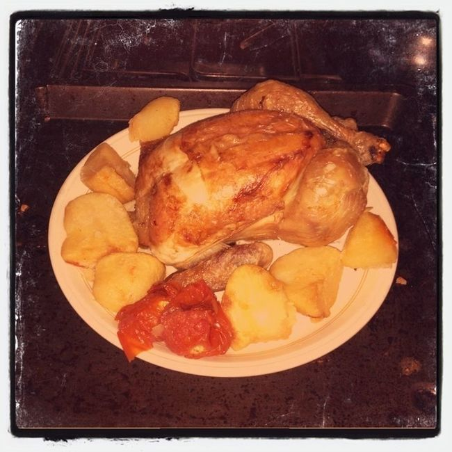 Roast chicken for one...or three if you count two drooling French Bulldogs...