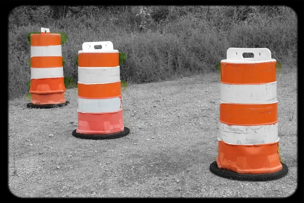 orange color, traffic cone, safety, outdoors, day, no people, road, nature, close-up