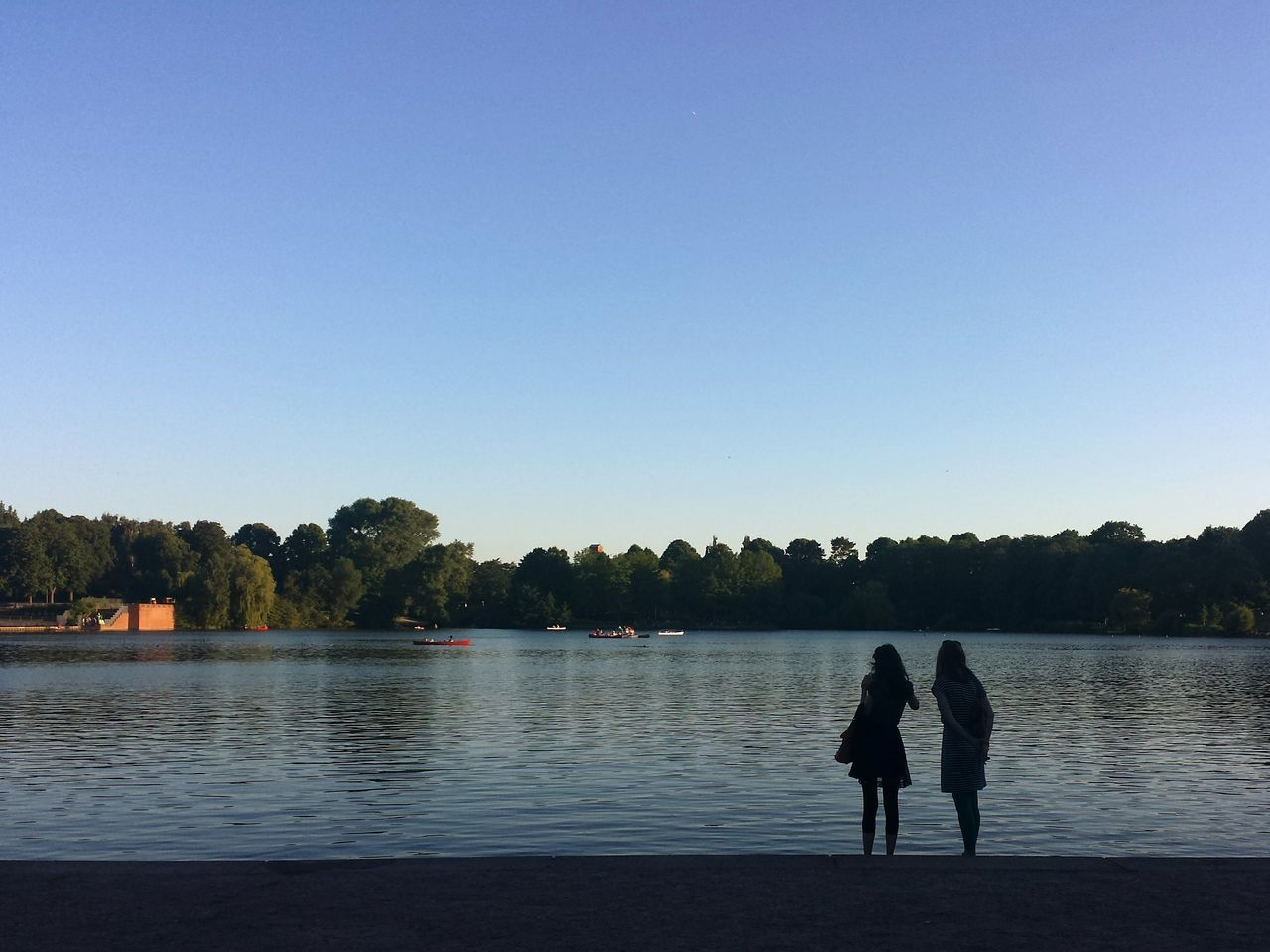 Two People Standing By Lake Against Clear Sky