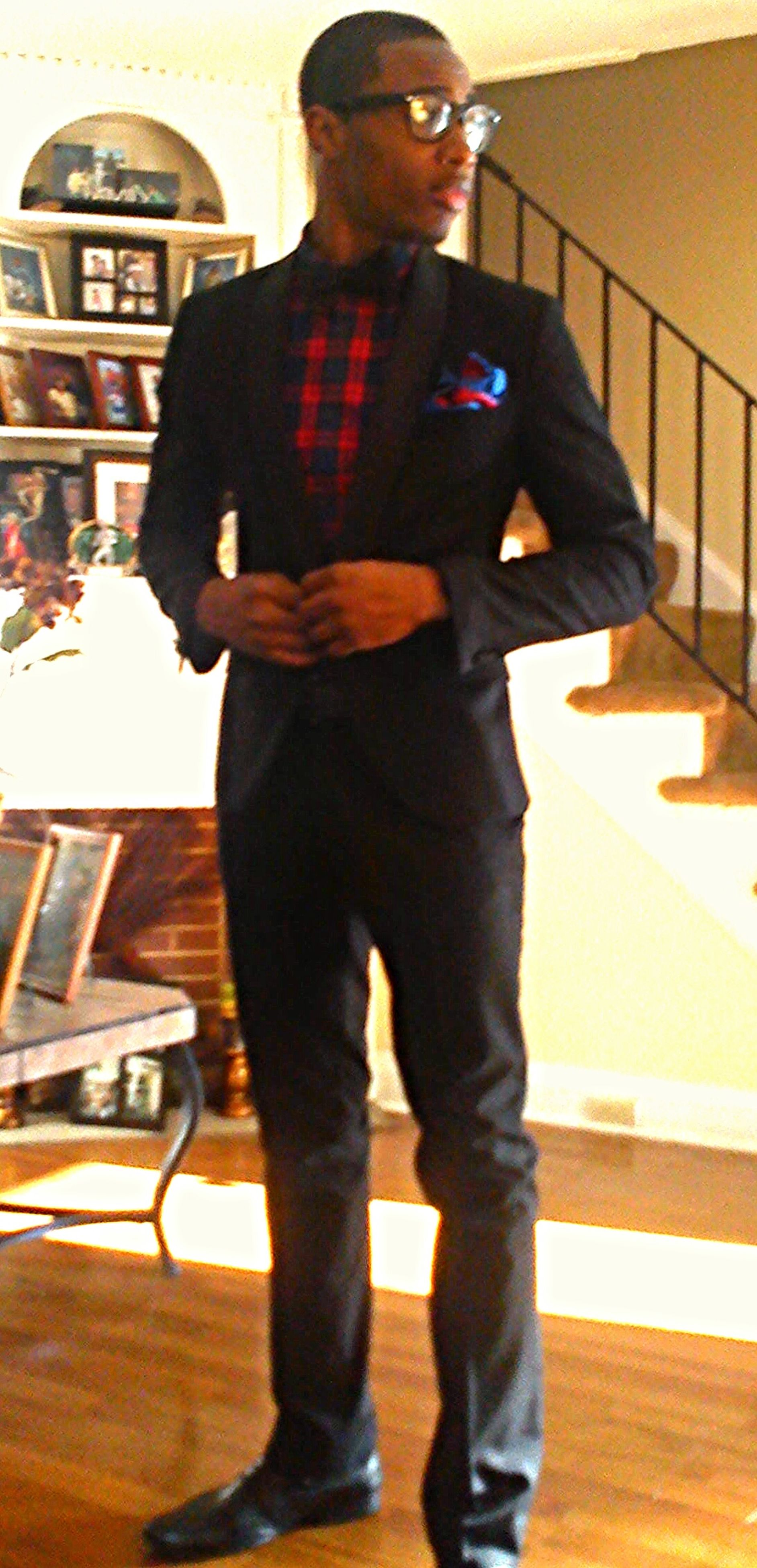 lifestyles, casual clothing, standing, indoors, three quarter length, front view, full length, leisure activity, black color, young adult, portrait, jacket, looking at camera, night, young men, fashion, men, well-dressed
