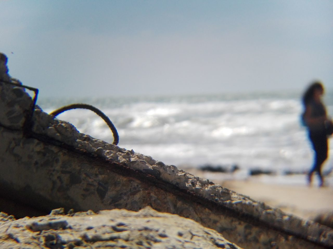Horizon Over Water Beach Restos Marinos Contaminated Nature
