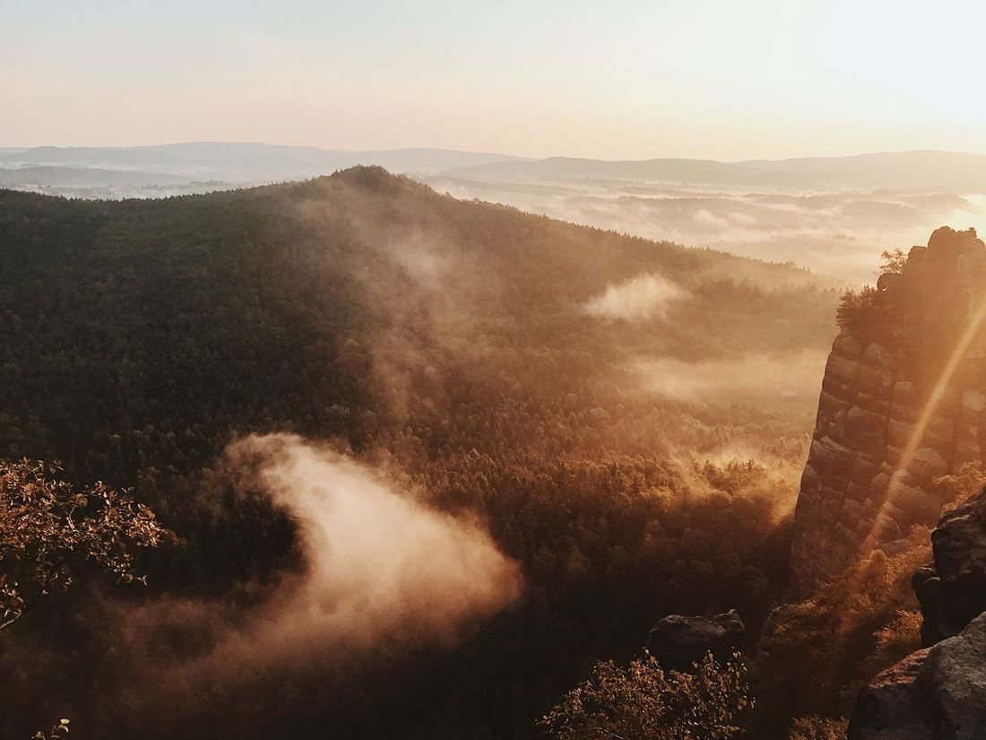 EyeEm Selects Nature Scenics Beauty In Nature Mountain Tranquil Scene Landscape No People Tranquility Mist Tree Outdoors Sunset Mountain Range Fog Hazy  Day Forest Sky