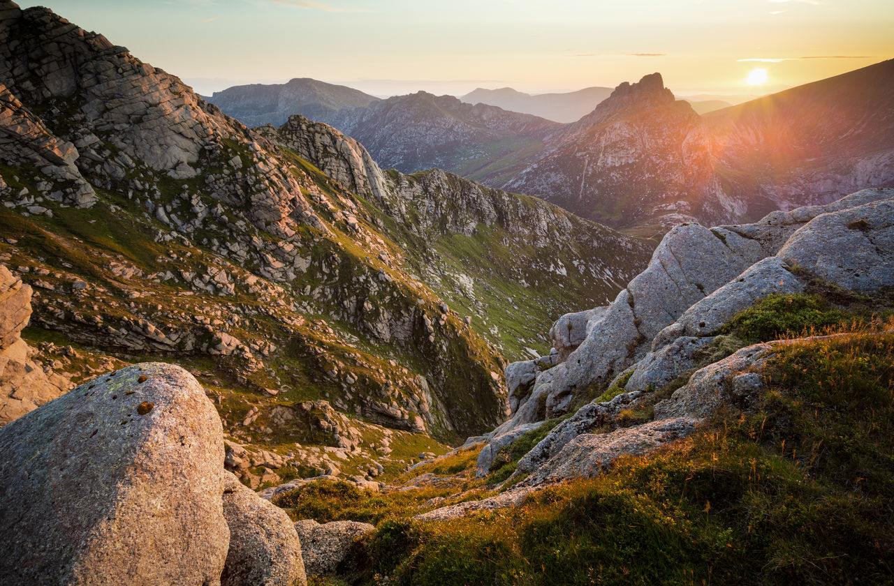 Cir Mhor from Goatfell Arran  Ayrshire, Scotland Cir Mhor Goat Fell Goatfell  Golden Hour Highlands Landscape Mountain Range Mountain View Ridge Rocks Scotland Sunset
