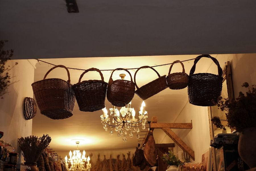 Baskets Baskets Ceiling Ceiling Lights Fujifilm X-E2 Hanging Hanging Out Lights Objects Basket Fujifilm_xseries Hanging No People Object Object Photography Outdoors Shop