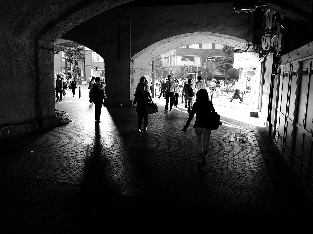 View Of People Walking In Underpass