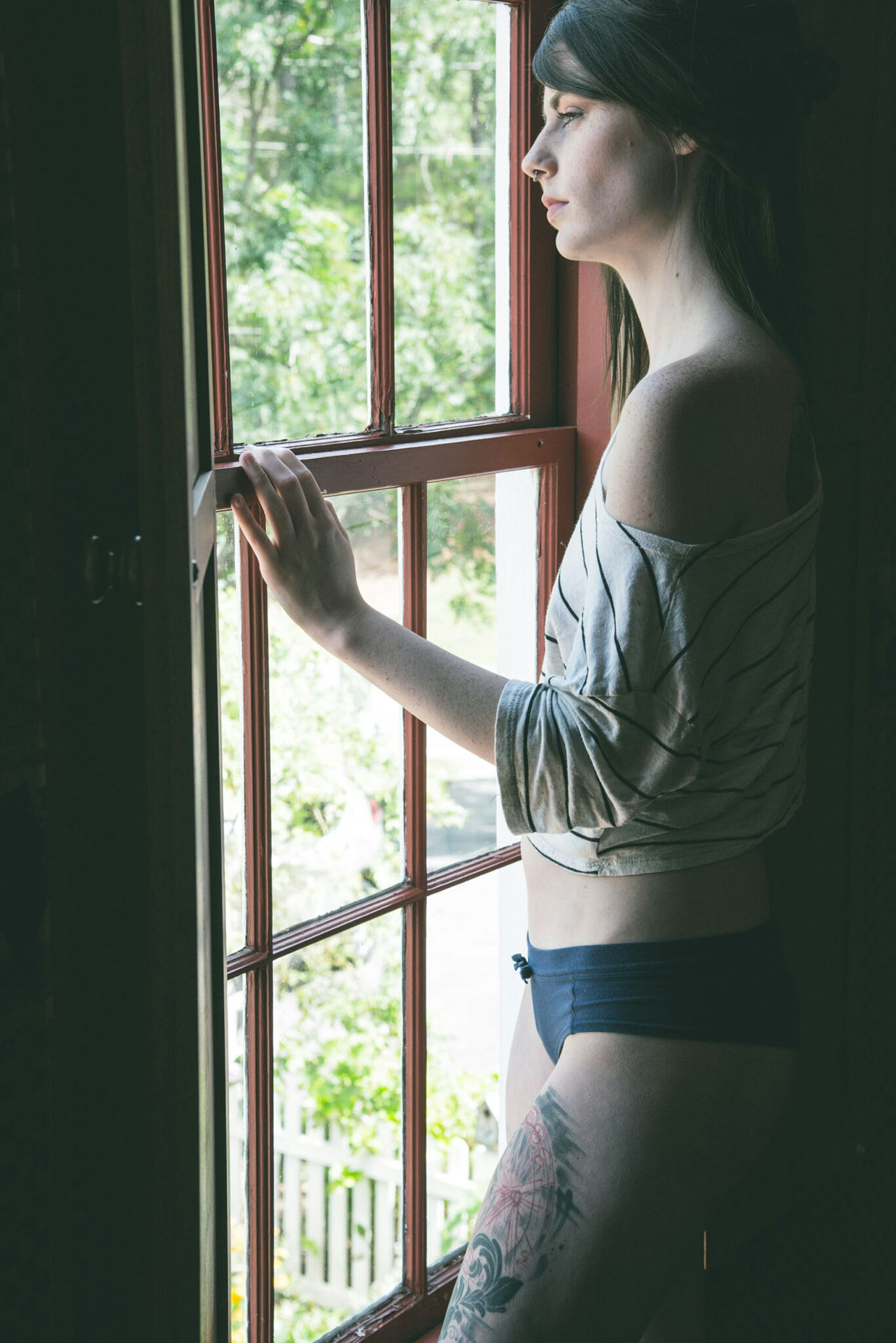 Studying the light - Two Pop Beautiful Woman Bedroom EyeEm Best Shots Daylight Daytime Window Black Underwear Photo Shoot Undressed Photo Project Beautiful Girl Tattoos Beautiful Women Morning Light Pretty Girls Beauty Best Friends Project Models Zen Brunette Girl  Sexywomen Nude-Art Tattooed