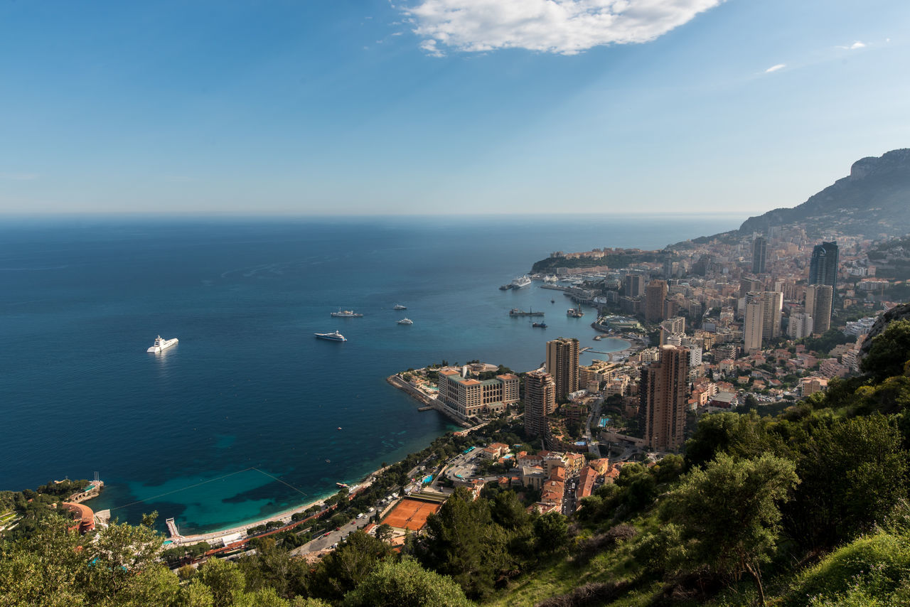 The beautiful city Montecarlo of Monaco, surrounded by France by the Mediterranean Sea. Architecture Building Exterior Built Structure City High Angle View Mediterranean Sea Monaco Mountain Scenics Sea Sky Travel Travel Destinations Water