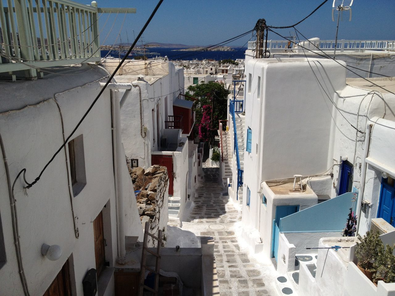 Architecture Beach Building Exterior Built Structure Clear Sky Day Empty Street Greece Island Mykonos No People Outdoors Residential Building Sky Street Sunlight Joy Feeling Good Great View Neighborhood Island View  Summer Sunshine Holidays In Greece ❤
