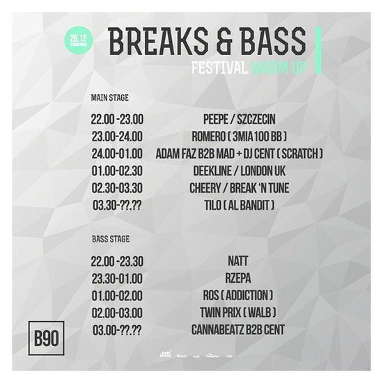 Time table for 26.12 @b90 gdańsk, poland. Bass Breaks Breakbeat Bassmusic Drumandbass Dnb Jungle Party