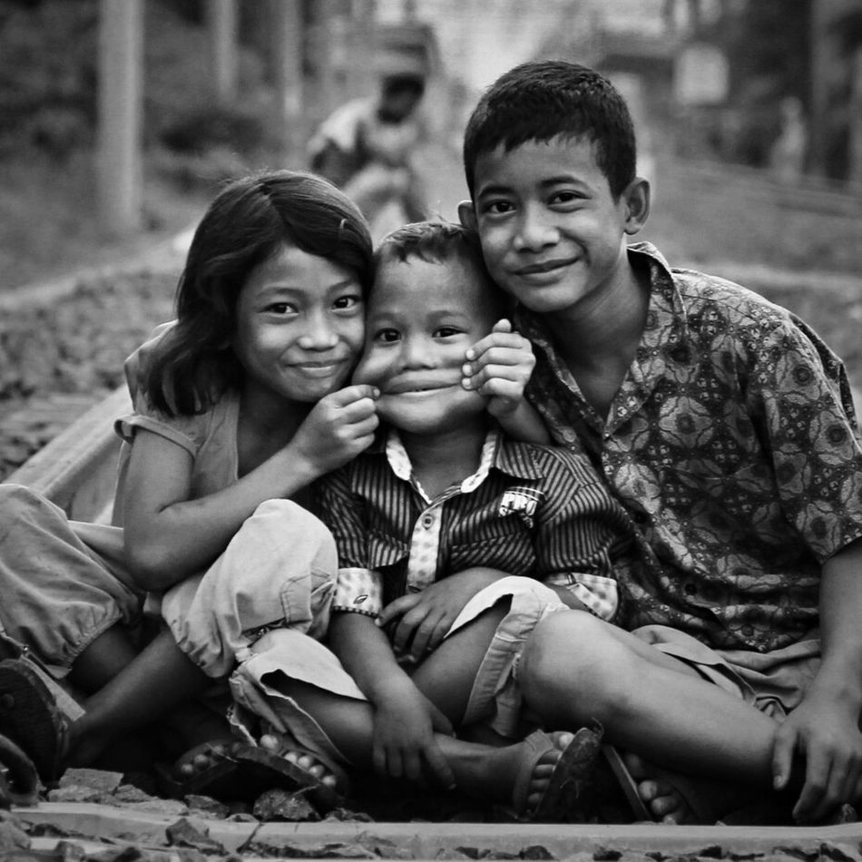 Rail Kids.. Blackandwhite Train Smile Monochrome Streetphoto_bw Railway
