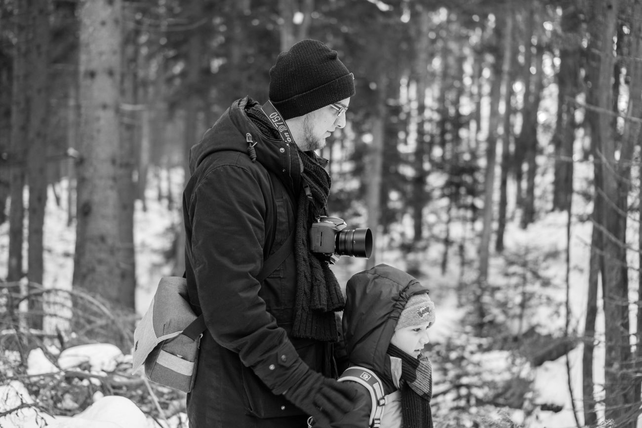 The perfect moment Adult Beutiful  Blackandwhite Boy Bühlertal Camera Child Cold Temperature Day Family Father And Son Germany Knit Hat Love Man Outdoors People Photography Portrait Samsungphotography Snow Togetherness Two People Warm Clothing Winter