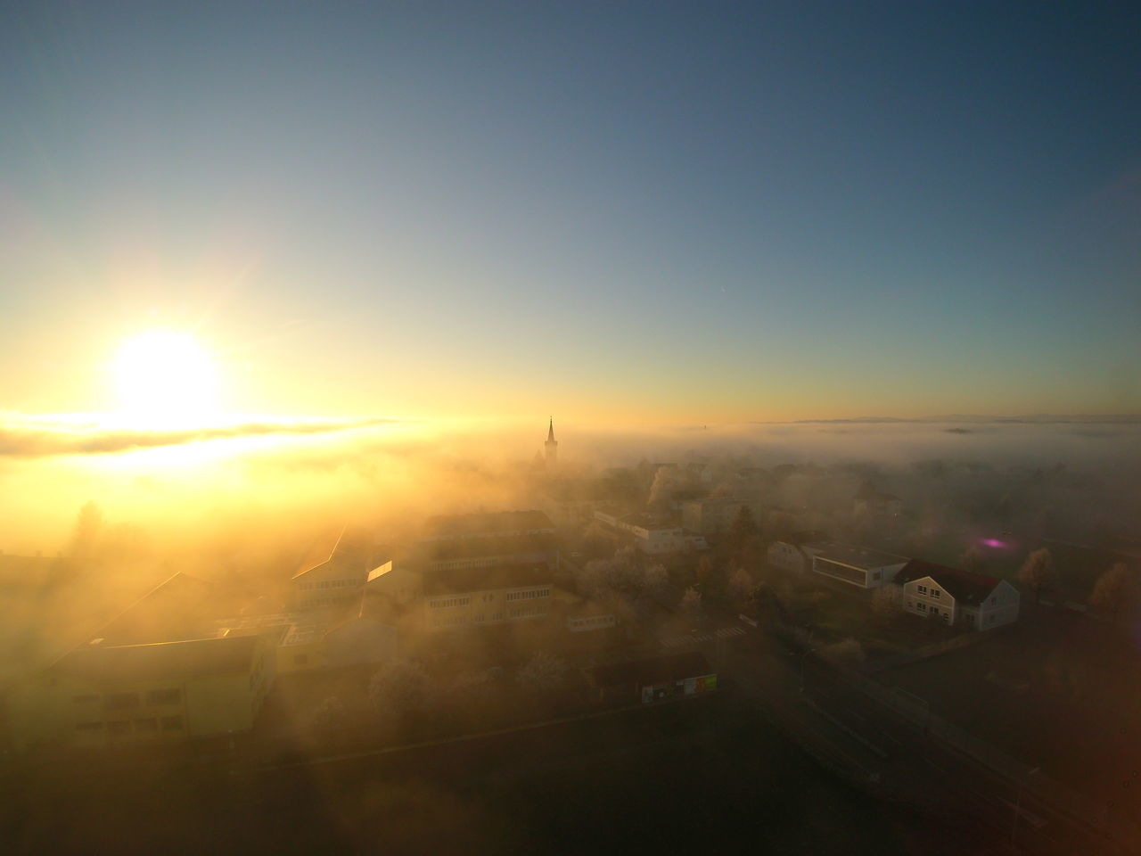 Awsome drone photo taken in my hometown Dronephotography From Above  Sunset_collection Sunset Foggy Day Foggy Foggy Landscape Foggy Afternoon Beauty In Nature Austria