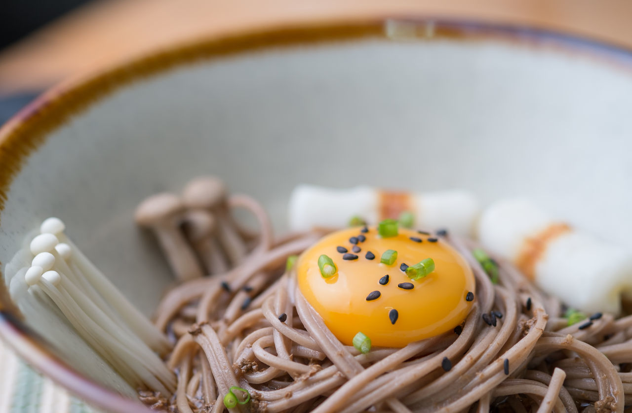 Japanese Food Soba Noodles WASHOKU Buckwheat Noodles Close-up Egg Yolk Enokitake Food Freshness Healthy Eating Indoors  Mushroom No People Noodles Ready-to-eat Sesame Seed Soba