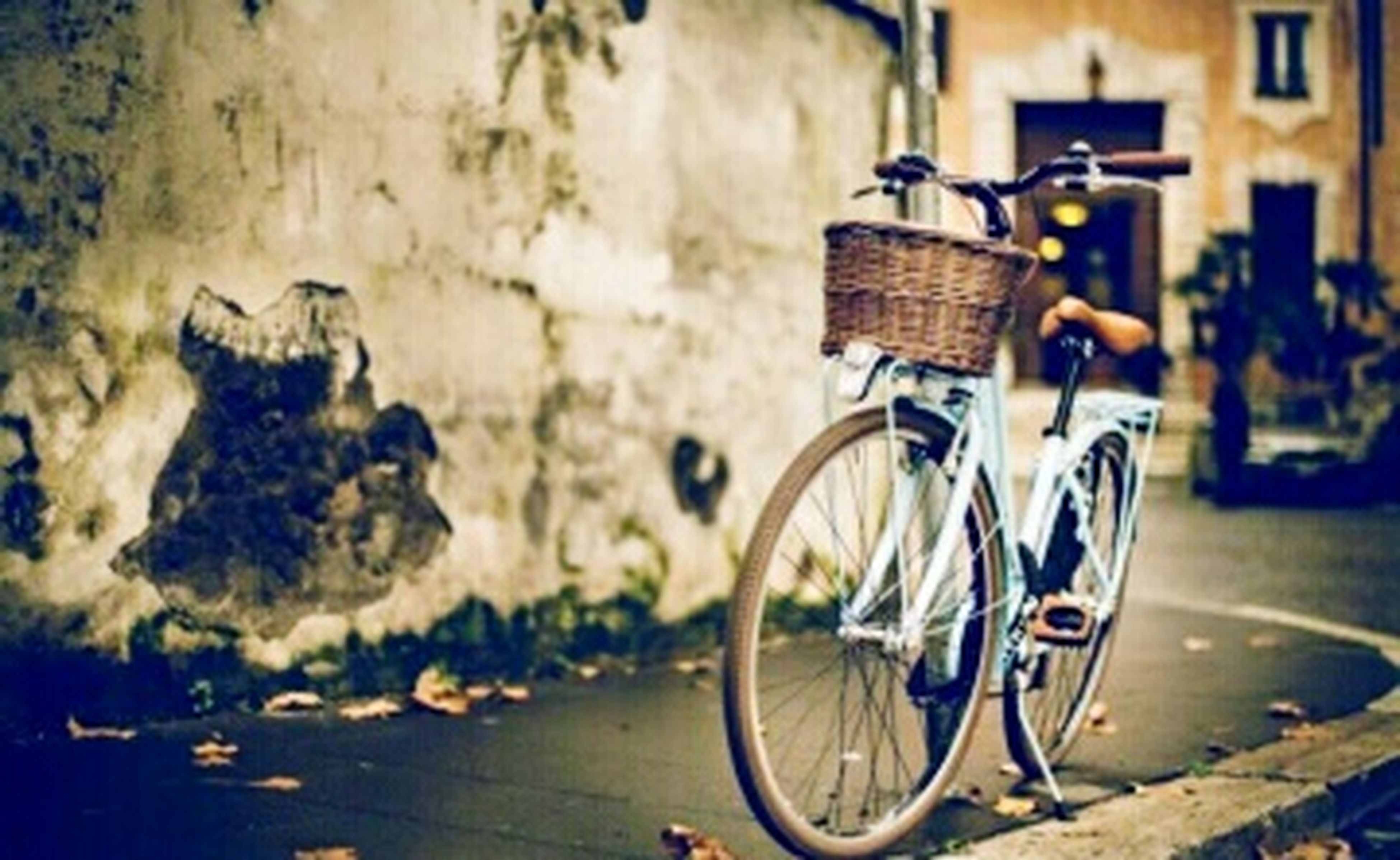 bicycle, mode of transport, transportation, land vehicle, stationary, parked, parking, street, side view, building exterior, built structure, wall - building feature, outdoors, architecture, day, cycle, no people, leaning, sidewalk, travel