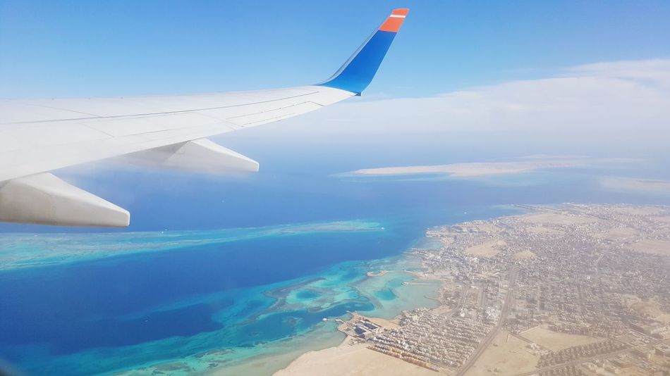 Airplane Red Sea Memories Red Sea Hurghada Looking Down From Above Sea Riffs Blue Flying Sky Water Day Airshow No People Outdoors Nature Egypt