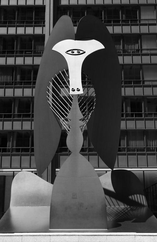"The ""Picasso"" sculpture in black and white. Chicago, Illinois, USA. Abstract America American Flag Artist Black And White Building Daley Detail Different Perspective Downtown District Exterior Illinois Metal Nobody Plaza Scuplture Structure Sunlight"