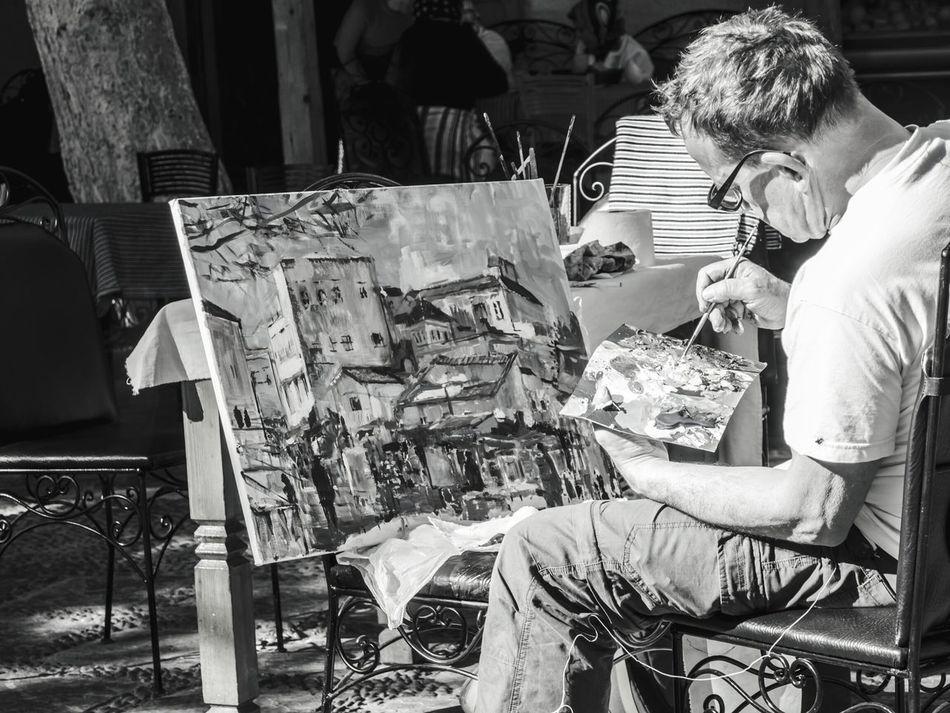 Make Art not War Real People Day One Person Men Art, Drawing, Creativity Artphotography Artoftheday Paint Brush Paint It Black Paint Art Street Art Streetphoto Peace Olympus Om-d E-m10 EyEmNewHere Eyem Best Shots Photoblogger