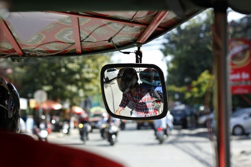 Car Car Interior Close-up Day Driving Land Vehicle Mode Of Transport No People Outdoors Side-view Mirror Sky Transportation Tuk Tuk Tuk Tuk Driver Tuk Tuk In Phnompenh TukTuk Tuktuk Streets Tuktukdriver Vehicle Interior Vehicle Mirror