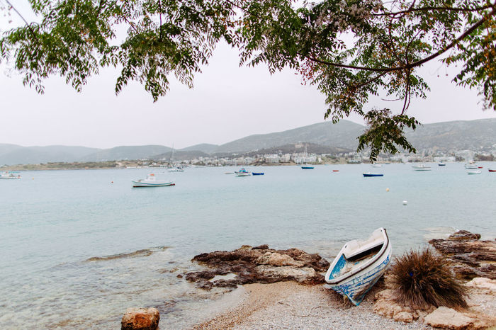 Beach at mediterranean sea with stranded boat Beach Beauty Day Mediterranean Sea Outdoors Stranded Stranded Boat Tree