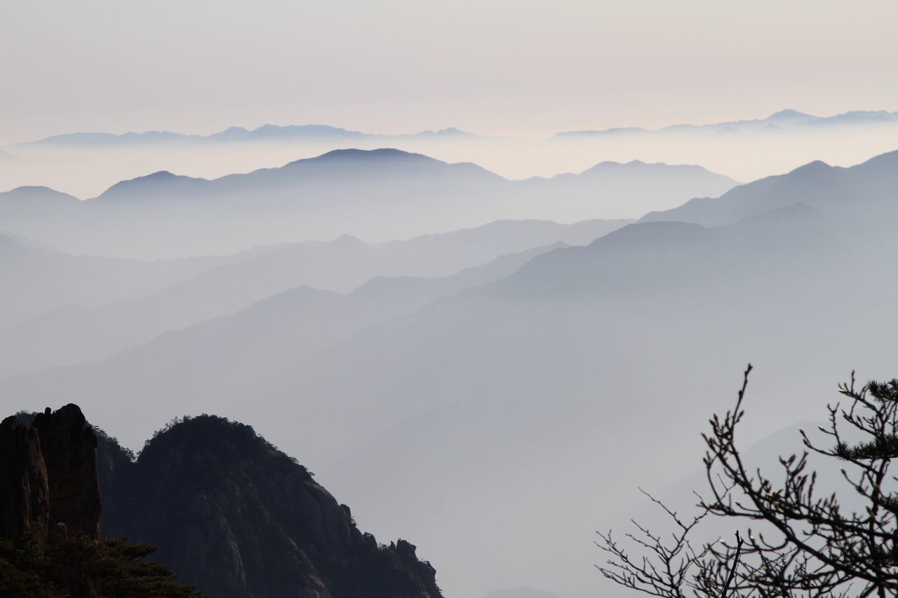 Huangshan mountain, Anhui, China. Mountain Nature Beauty In Nature Tranquility Mountain Range Scenics Tranquil Scene Tree No People Sky Outdoors Fog Idyllic Day Hazy  China China Beauty