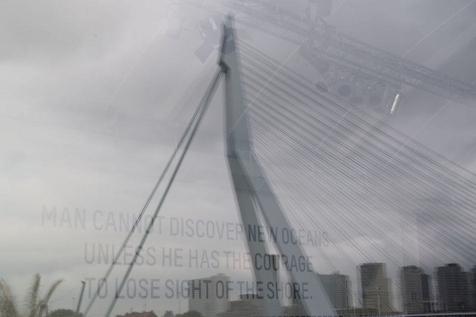 Bridge - Man Made Structure Cable City Cloud - Sky Connection Day Engineering Erasmus Bridge Erasmusbrug Modern Nature No People Outdoors Reflected Slogan Rotterdam Sky Tall - High The Way Forward Tourism Travel Destinations Weather