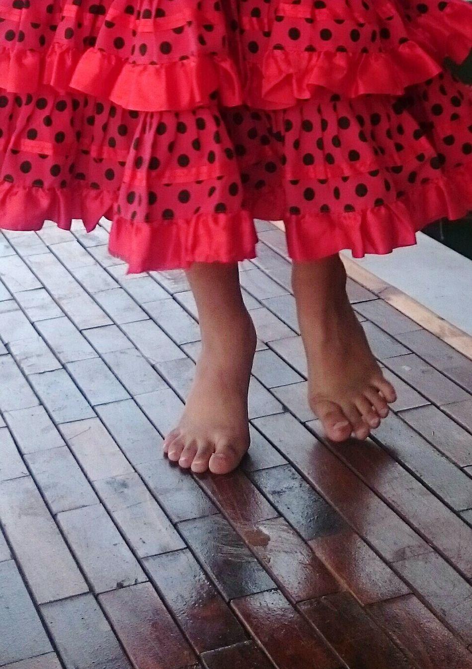 Human Leg Barefoot Human Foot Red Outdoors Street Photography Child Dancing Flaminco Girl