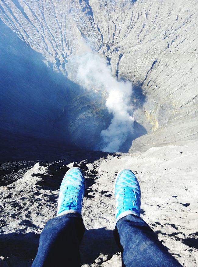 Personal Perspective Human Body Part Low Section Human Leg Nature Lake Beauty In Nature INDONESIA Volvanoes Bromo Tengger Semeru National Park Bromo Mountain Indonesia