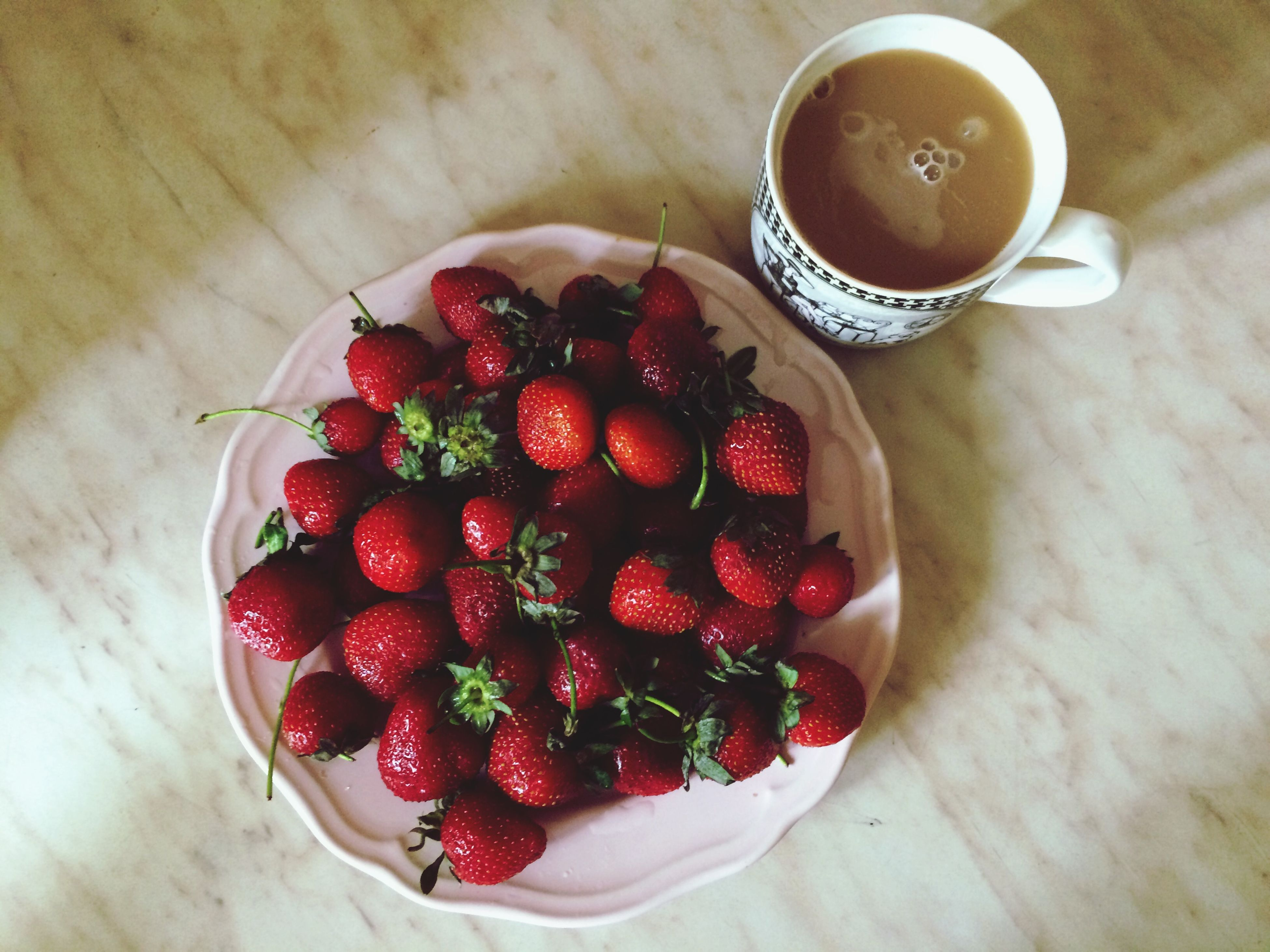 food and drink, freshness, food, fruit, healthy eating, indoors, table, still life, red, strawberry, high angle view, bowl, drink, raspberry, refreshment, ripe, berry fruit, cherry, directly above, close-up