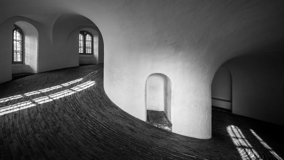 Rundetaarn Arch Architecture B&w Black And White Blackandwhite Built Structure Copenhagen Denmark Europe Indoors  Interior Light Light And Shadow Mono Monochrome No People Nordic Countries Old Old Buildings Ramp Round Tower Rundetårn  Scandinavia Shadows & Lights The Way Forward